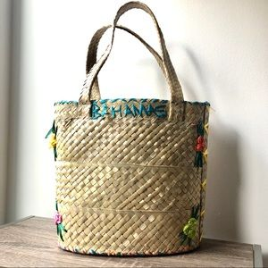 Bahamas Natural Woven Lined Tote Bag w/Flowers